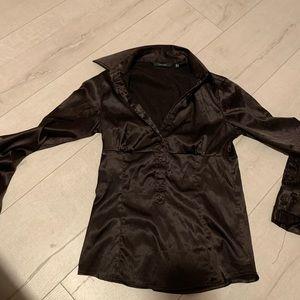 Zara basic stretchy silky buttons down shirt